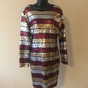 Multi Colored Striped Sequin Dress Size 2X NWOT